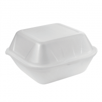 Coquille plastique PSE blanche hamburger  120x120mm H74mm