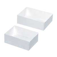White cardboard pastry box without lid  180x120mm H50mm