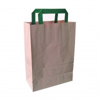 Kraft/brown recycled paper carrier bag with green handles  200x100mm H290mm