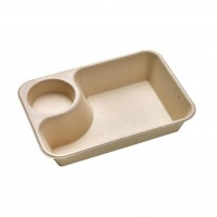 Brown rectangular pulp tray with sauce compartment 850ml 218x165mm H45mm