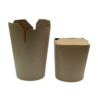 Kraft round base cardboard container with slit closing 500ml Ø80mm  H100mm