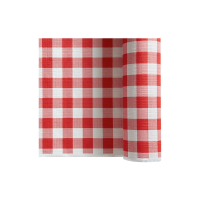 Red&white squares non-woven table skirt  4000x720mm