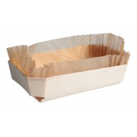 Rectangular wooden baking mould with baking liner 500ml 181x110mm H39mm